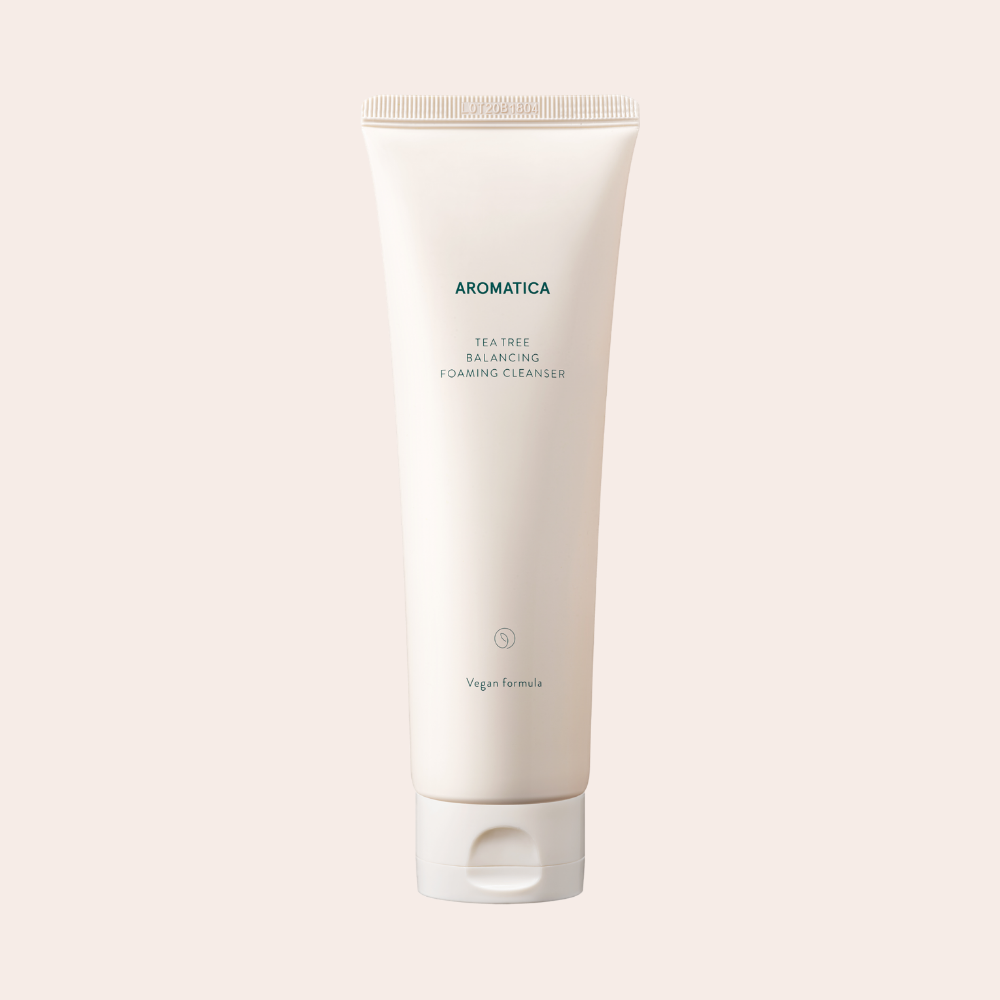 Aromatica Tea Tree Balancing Foam Cleanser in beige tube