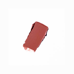 Deep brown nude lipstick swatch