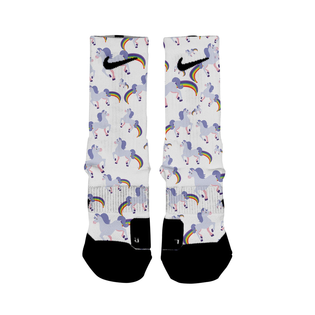 HoopSwagg Rainbow Farting Unicorns Custom Elite Socks