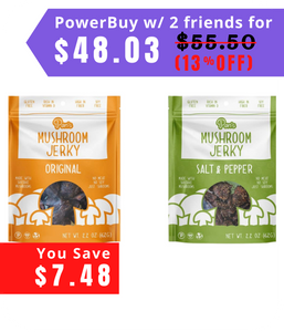Pan's Mushroom Jerky, Original+ Salt & Pepper, 6 Pack