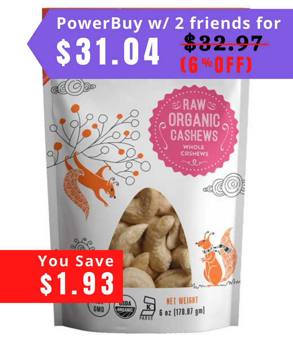 Organic Raw Cashews 6 oz bag, 3 Pack