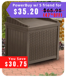 Outdoor 22 Gallon Resin Plastic Wicker Storage Bench