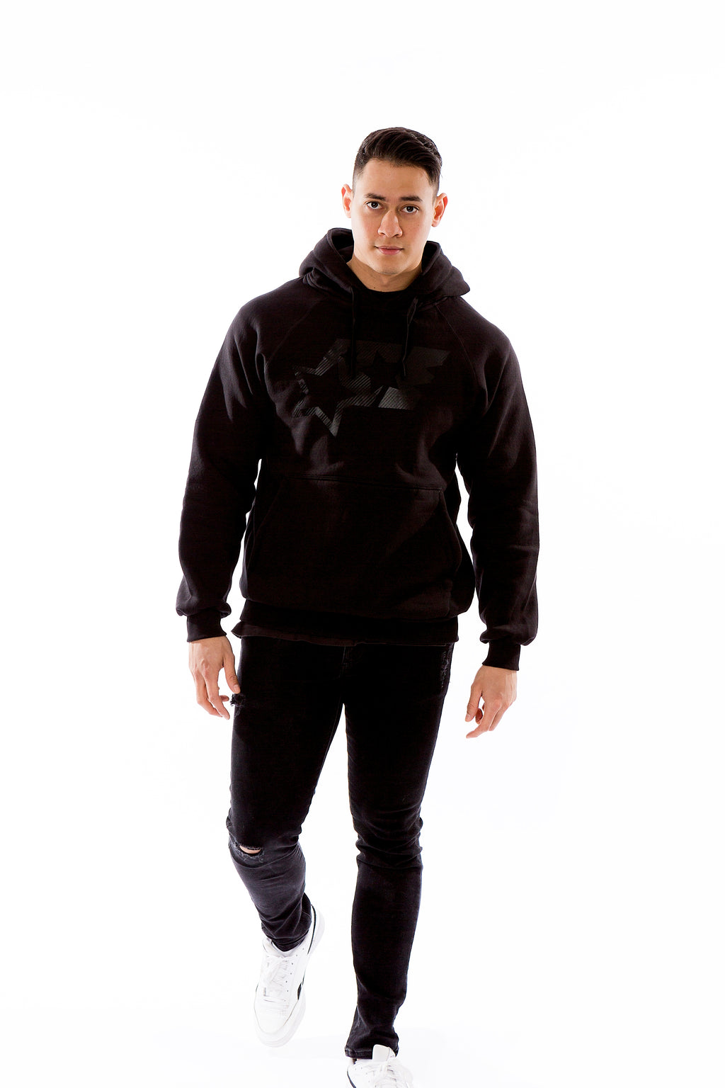 BIG LOGO HOODY - BLACKONBLACK - ACEPERFORMANCE