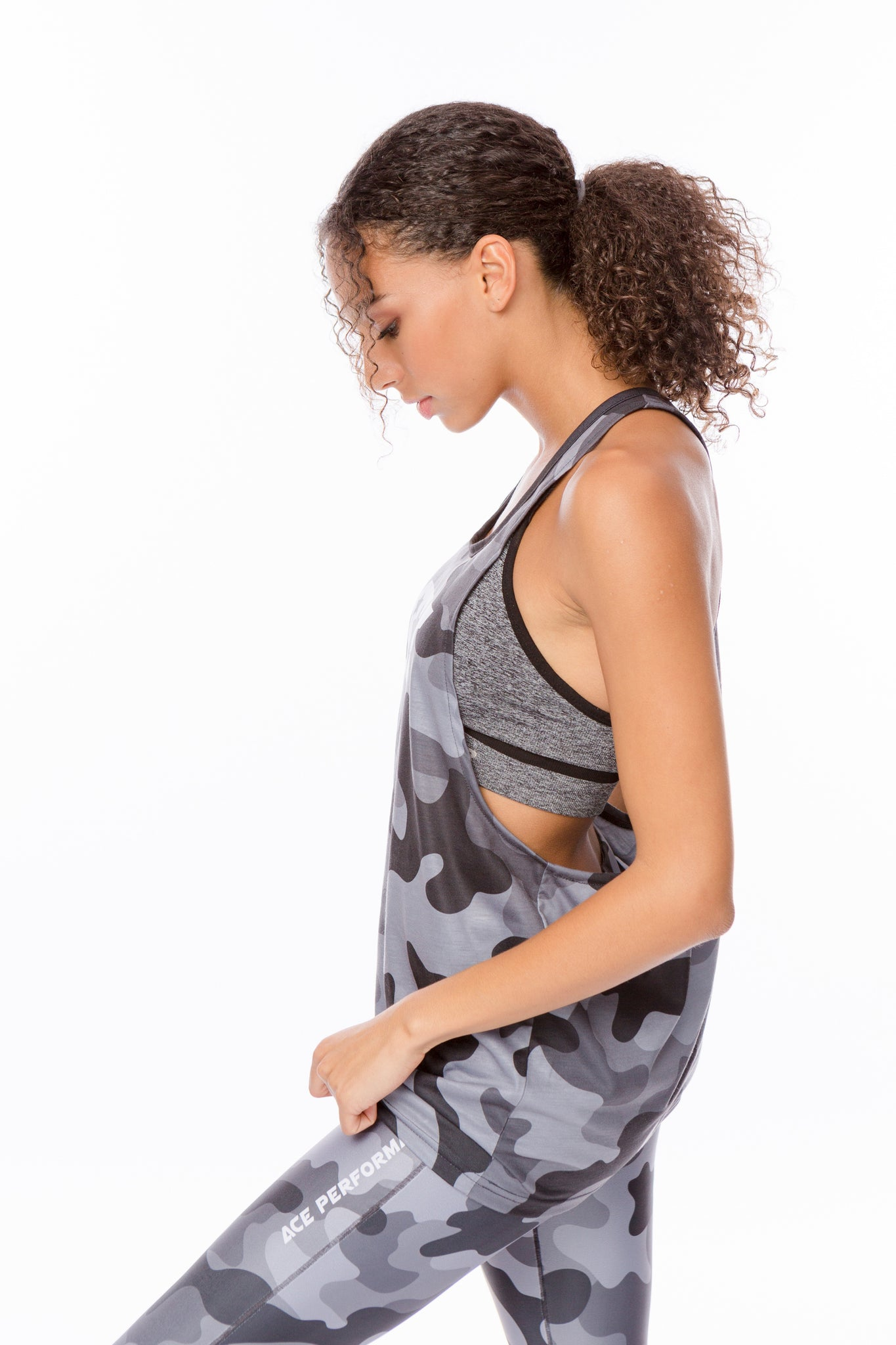 FITNESS LOOSE TANK TOP -  BLACK CAMO - ACEPERFORMANCE