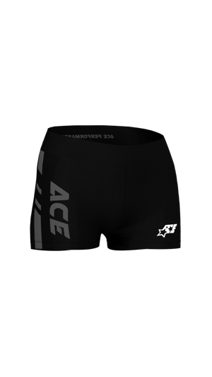 WOMENS FITNESS SHORTS - ACE BLACK GREY - ACEPERFORMANCE