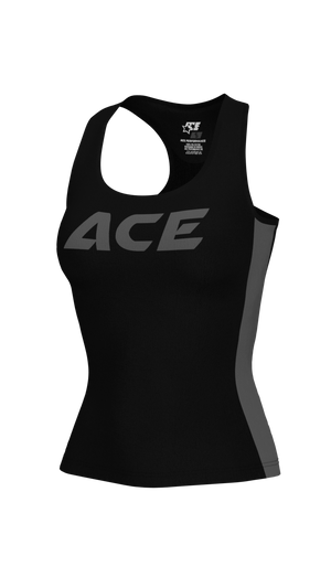 WOMENS FITNESS TANK TOP -  ACE BLACK GREY - ACEPERFORMANCE