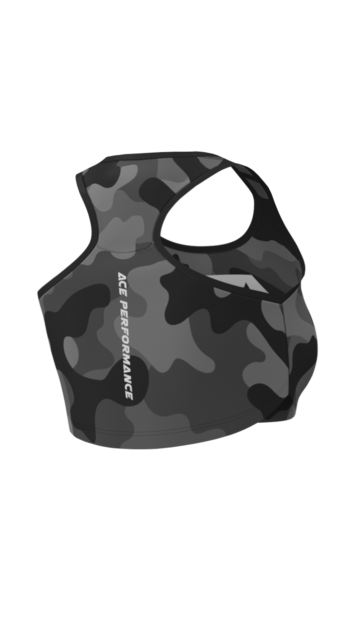 WOMENS FITNESS TOP - BLACK CAMO - ACEPERFORMANCE