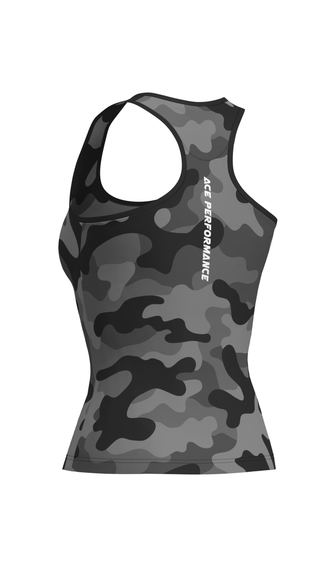 WOMENS FITNESS TANK TOP -  BLACK CAMO - ACEPERFORMANCE