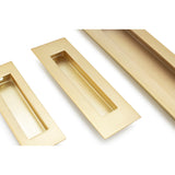 Satin Brass Sliding Door Flush Pull 150mm x 50mm