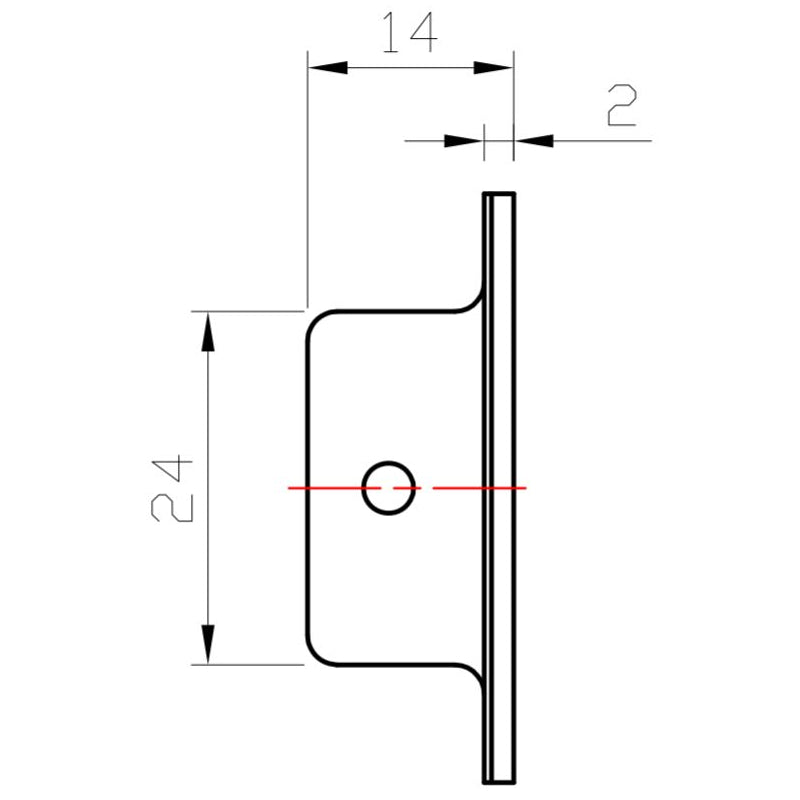 Specification and measurements of Manovella 120mm x 40mm flush pull in Matt Black finish