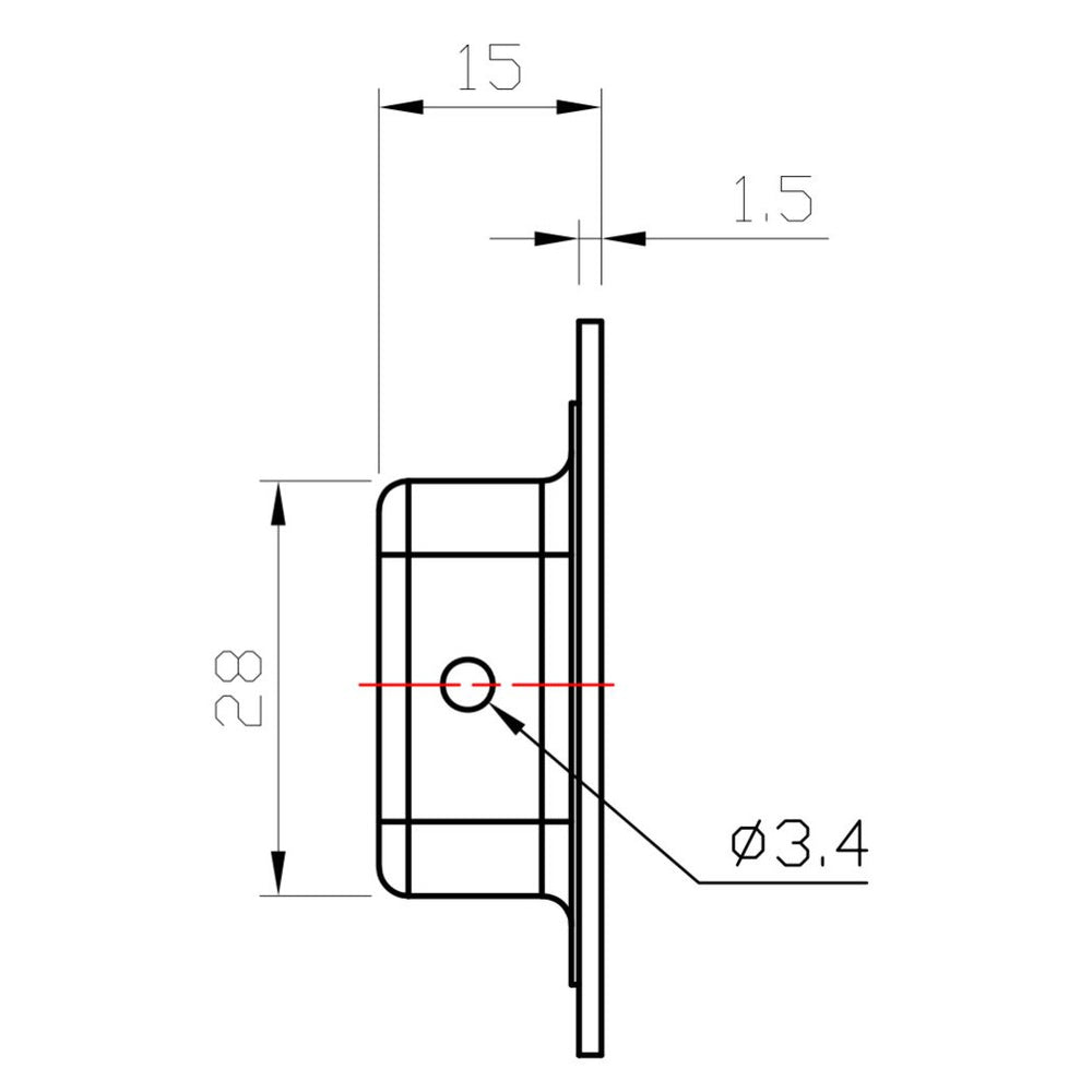 Birdeye view line drawing of Matt 150mm x 50mm flush pull