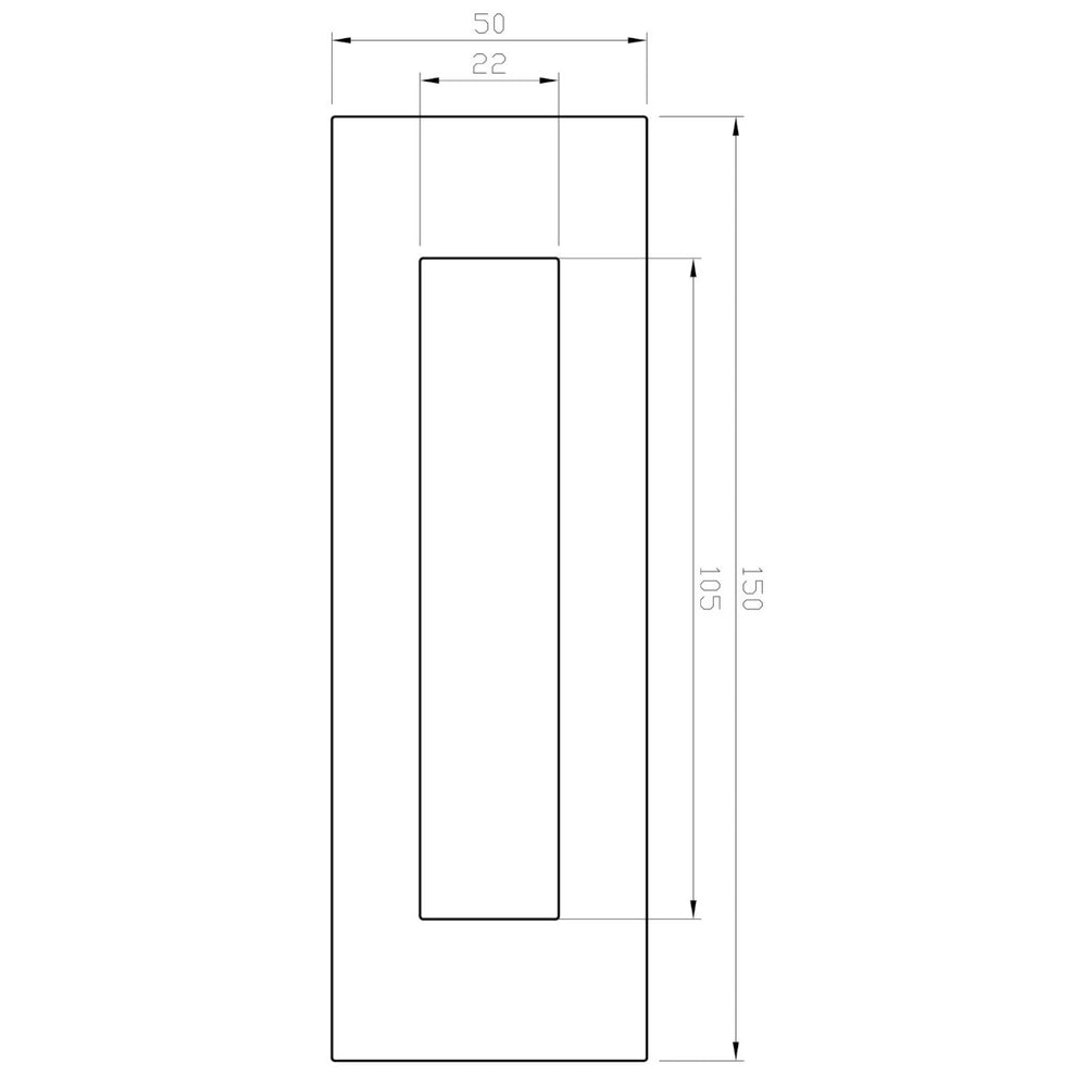 Line drawing with measurements of 150mm x 50mm flush pull
