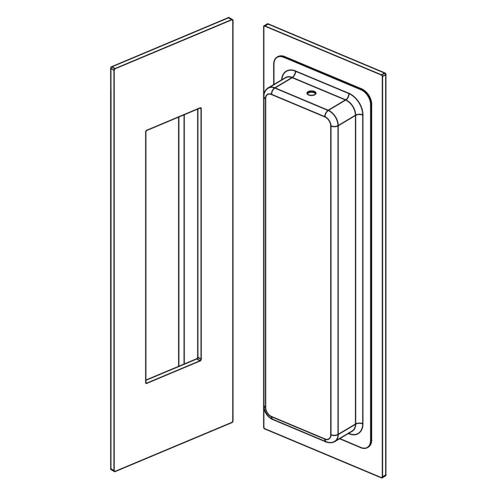Line drawing of Manovella 150mm x 150mm Matt Black Flush Pull