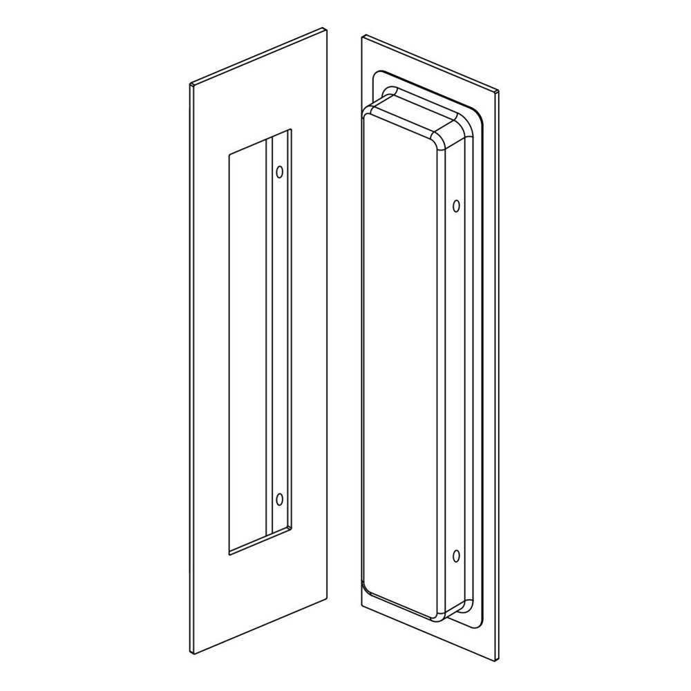 3D Line drawing of Manovella 250mm x 80mm flush pull