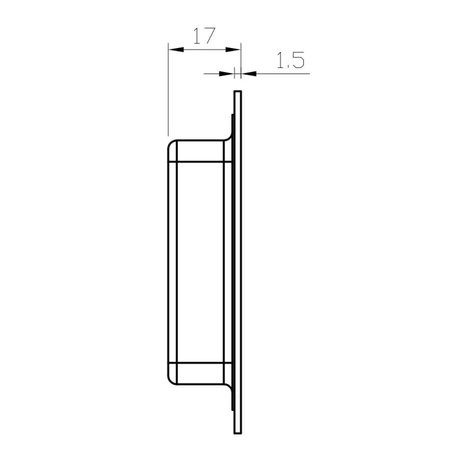 2D Birdseye view line drawing of Manovella 250mm x 80mm flush pull