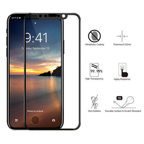 Iphone X Black Tempered Glass