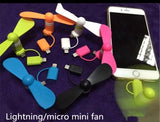 2 In 1 Mini Portable Fan For Any Mobile Phones Using Lightning Cable And Micro Usb