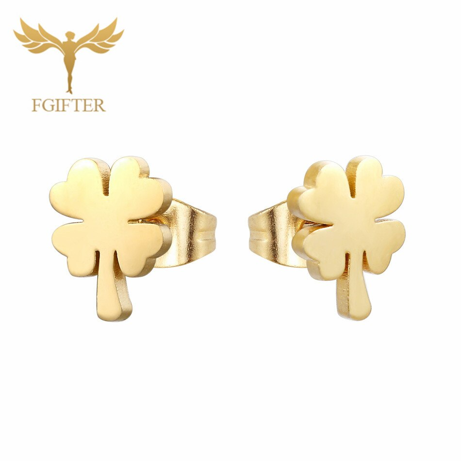 Wholesale Stainless Steel Earrings for Women Girl Animal Clover Flower Cat Bird Unicorn Bear Butterfly Style Gold Ear Jewelry