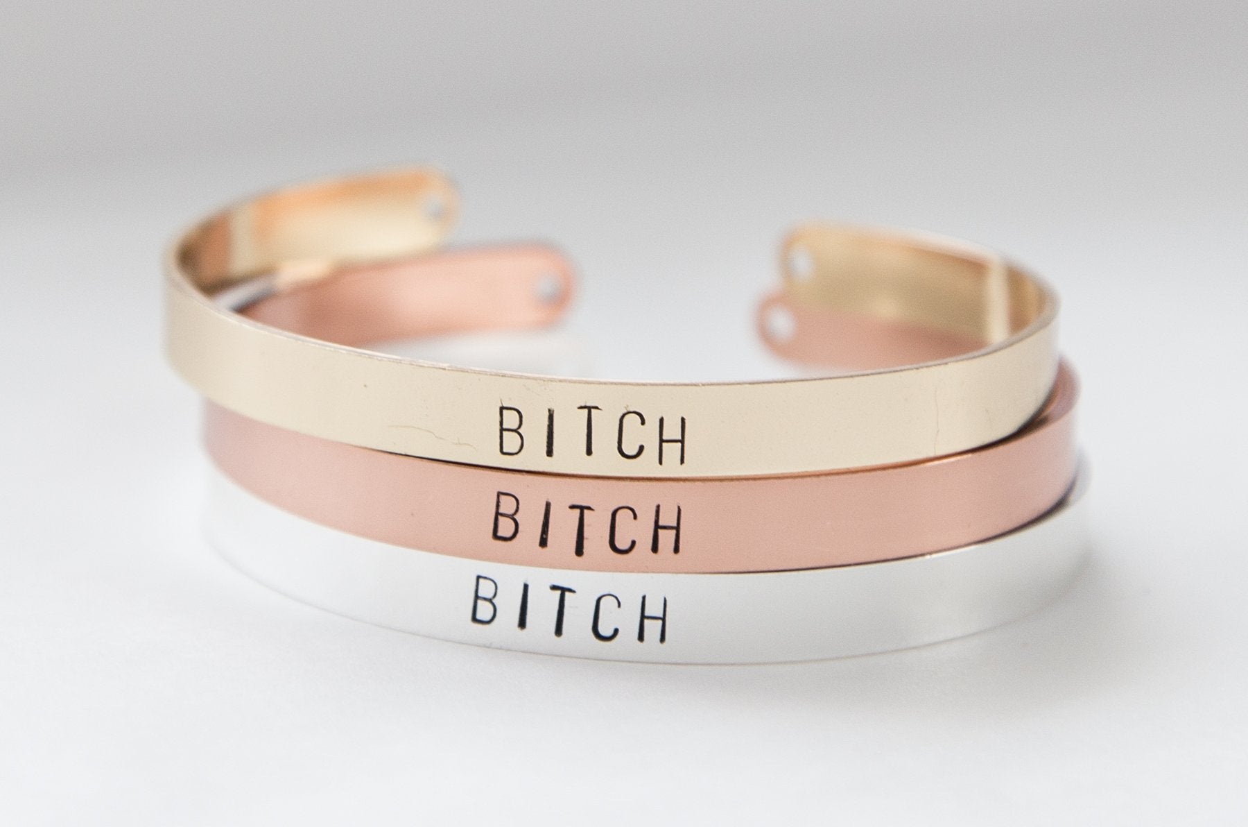 Bitch bracelet, hand stamped gold plated cuff,