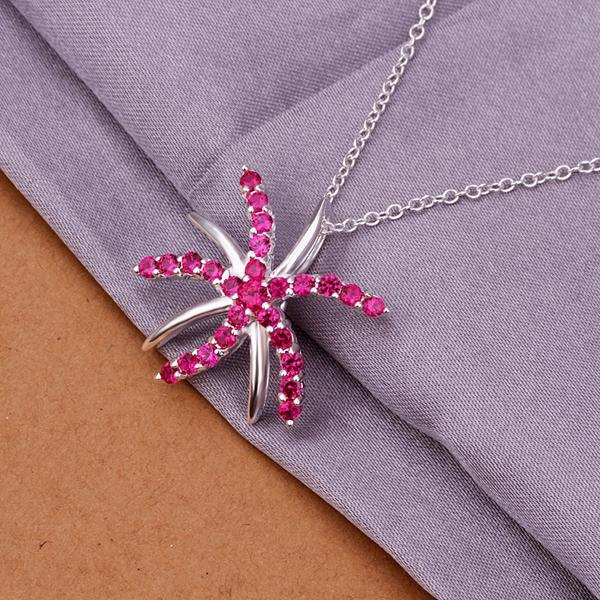 Pink Starfish Necklace in 18K White Gold Plated with Swarovski