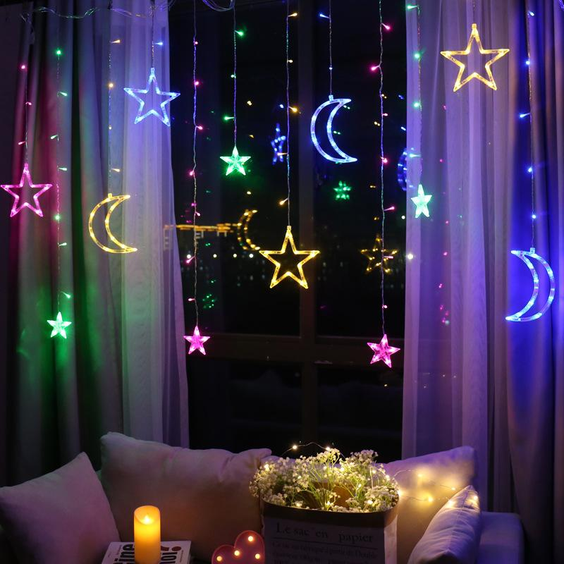Hanging Moon & Stars Lamp with Remote Control