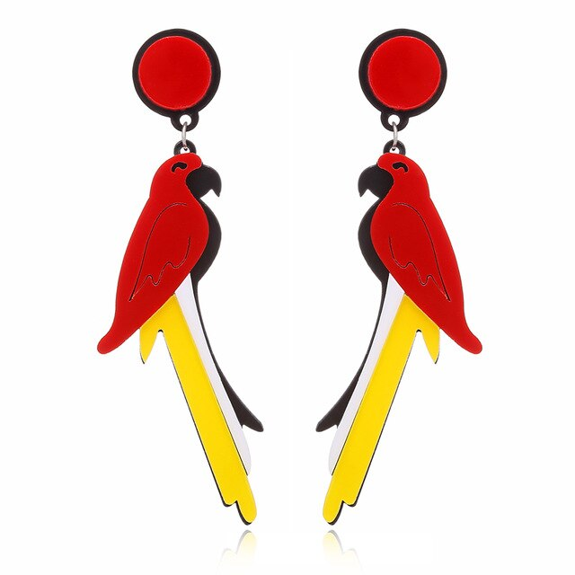 XIYANIKE Acrylic Parrots Drop Earrings For Women Night Club  Exaggerated Colorful Feather Birds Pattern Long  Statement Jewelry