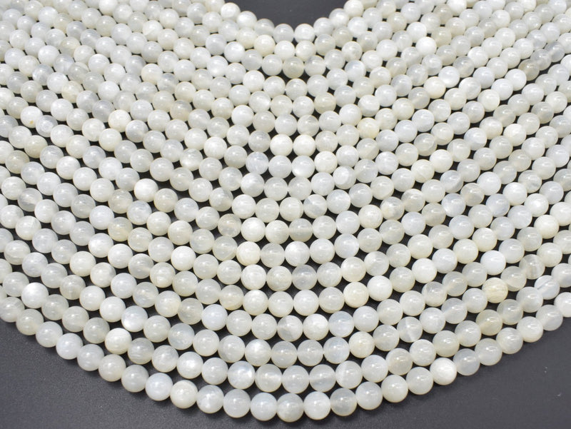 White Moonstone, 6mm (6.4mm) Round-BeadBeyond
