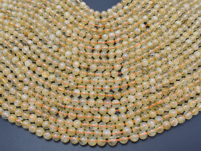 Citrine Beads, 6mm(6.2mm) Round Beads-BeadBeyond