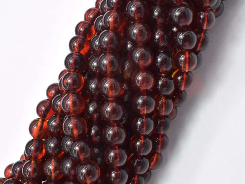 Amber Resin-Red, 6mm Round Beads, 26 Inch-BeadBeyond