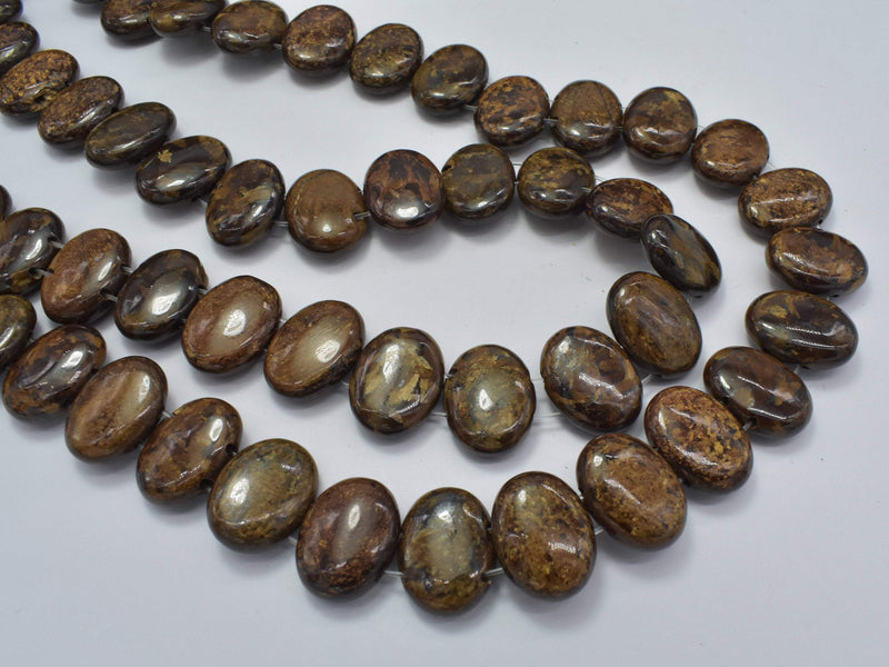 Bronzite Beads, 12x16mm Double Hole Oval-BeadBeyond