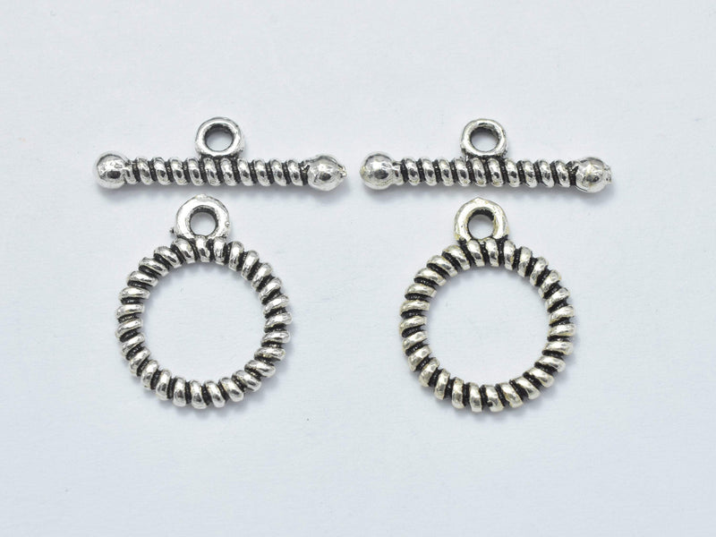 2sets Antique Silver 925 Sterling Silver Toggle Clasps Loop 12mm (11.5mm), Bar 16mm, Hole 1.7mm-BeadBeyond