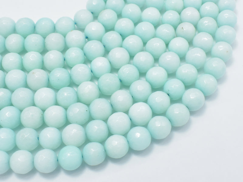 Jade-Light Blue, 8mm Faceted Round-BeadBeyond