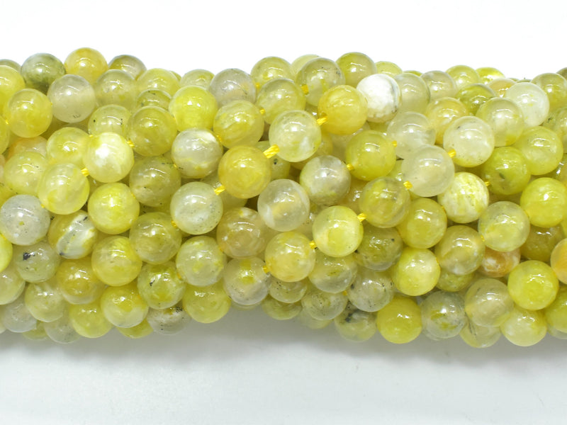 Lemon Matrix Quartz Beads, 6mm (6.4mm) Round Beads-BeadBeyond