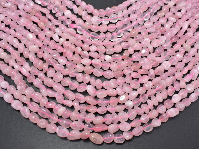 Madagascar Rose Quartz, 6x8mm Nugget Beads, 15.5 Inch-BeadBeyond