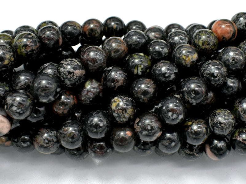 Flower Obsidian Beads, 8mm (8.3mm) Round Beads-BeadBeyond