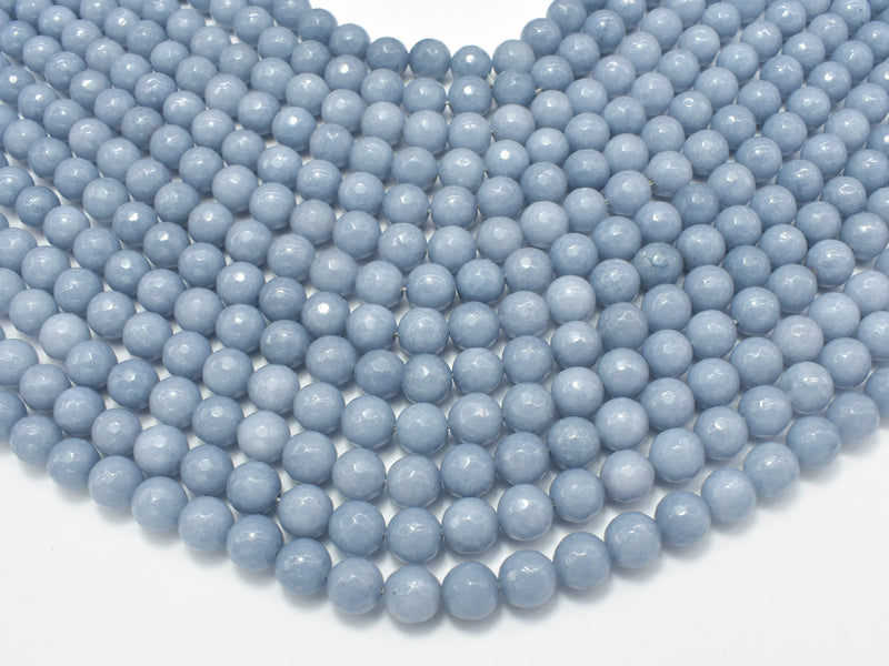 Jade Beads, Gray, Faceted Round, 8mm-BeadBeyond