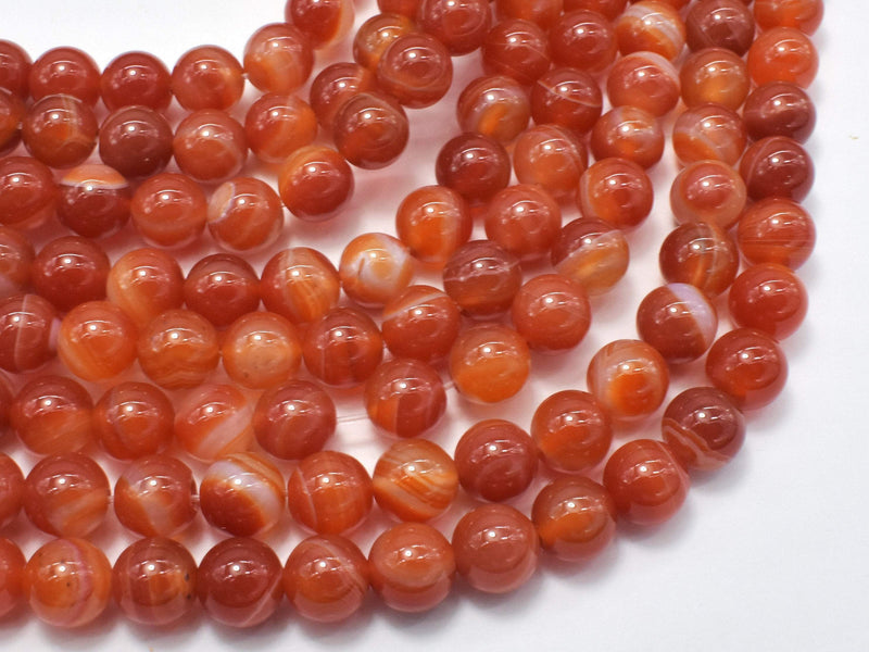 Banded Agate Beads, Striped Agate, Orange, 8mm (8.3mm) Round-BeadBeyond