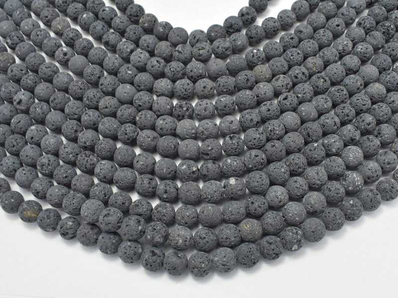 Unwaxed Black Gray Lava, 6mm (6.5mm) Round-BeadBeyond