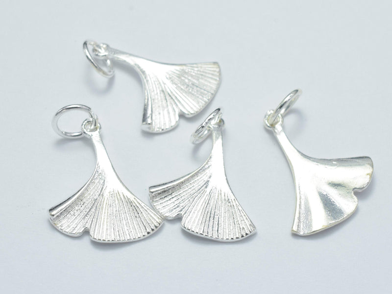 2pcs 925 Sterling Silver Charm, Ginkgo Leaf Charm, 14x17mm-BeadBeyond