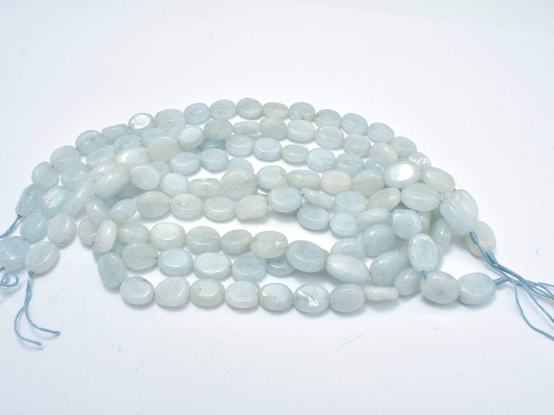 Aquamarine Beads, Irregular 7.5x9.5mm Oval Beads-BeadBeyond
