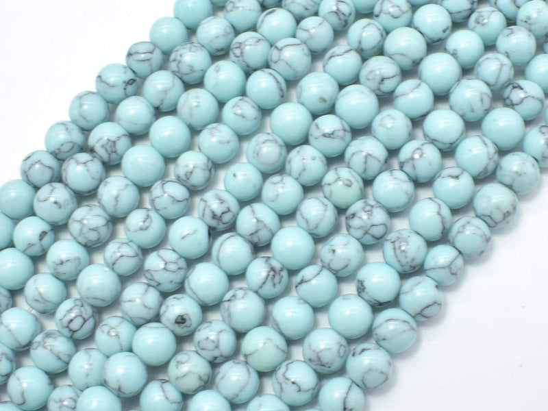 Turquoise Howlite-Light Blue, 6mm Round Beads-BeadBeyond