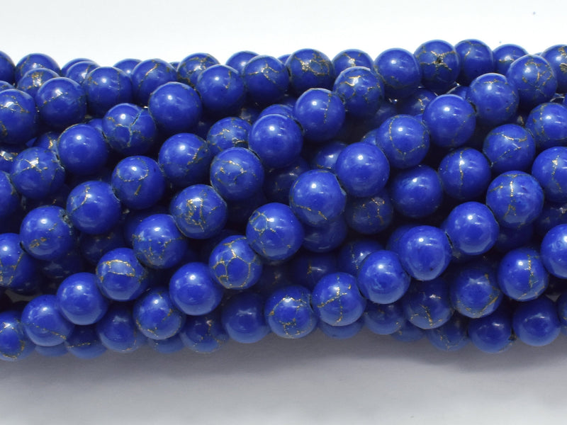 Lapis Blue Turquoise Howlite, 6mm (6.3mm)-BeadBeyond