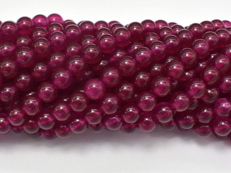 Jade Beads-Ruby, 6mm (6.4mm) Round Beads-BeadBeyond
