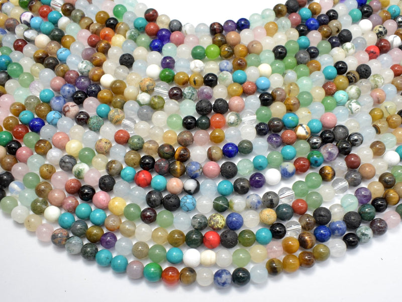 Mixed Stone, 6mm Round Beads-BeadBeyond