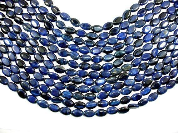 Blue Tiger Eye, 8x12mm Oval Beads-BeadBeyond