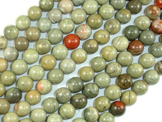 Silver Leaf Jasper Beads, 8mm Round Beads-BeadBeyond