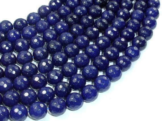 Dark Blue Jade Beads, 10mm Faceted Round Beads-BeadBeyond