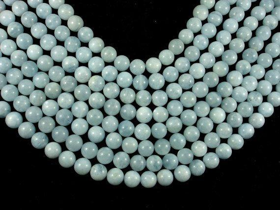 Genuine Aquamarine Beads, 10mm Round Beads-BeadBeyond