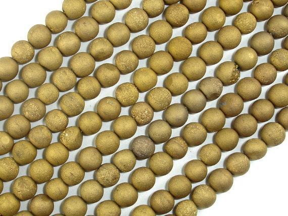 Druzy Agate Beads, Gold Geode Beads, 6mm, Round beads-BeadBeyond