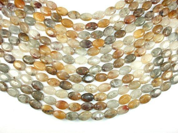 Lodolite Quartz, 10x14mm Oval Beads-BeadBeyond